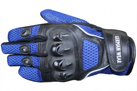 Motocross Motorradhandschuhe Biker Handschuhe Textilhandschuhe Blau - Vorschau 2