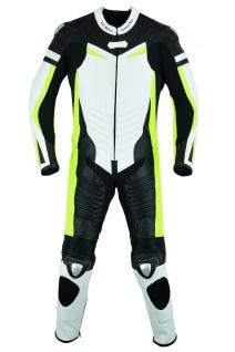 Fluoreszierender Einteiler Motorradkombi Motorrad Lederkombi aus Rindsleder echtleder Kombi Gelb