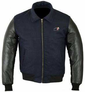 German Wear, Collegejacke varsity College Blouson Wolljacke Jacke Lederärmel Lammnappa Marineblau