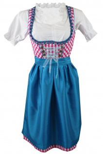 1-teiliges Midi-Dirndl Landhaus Kleid ohne Bluse Dirndel Pink kariert - Vorschau 1