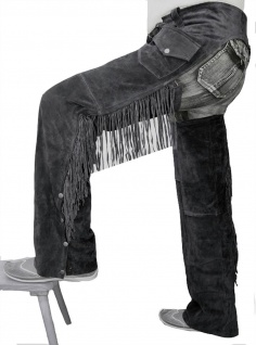 German Wear, Chaps Fransenhose Cowboy Indianer Western Lederchaps Lederhose Schwarz