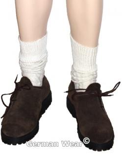 Kurze Trachtensocken Trachtenstrümpfe Zopfmuster Socken 44cm Natur - Vorschau 2