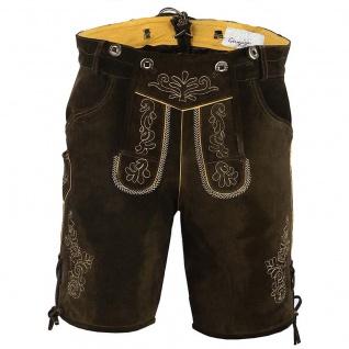 German Wear, Kurze Trachten Lederhose Wildblockleder mit Hosenträger Trachtenhose