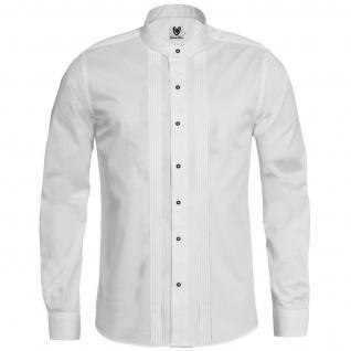 Trachtenhemd Businesshemd 2x5 Biesen Stehkragen Hemd Langarm Baumwolle