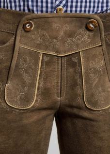 Trachten Damen Lederhose Odette 134-D kurzhose Ziegenvelour Stickerei - Vorschau 4