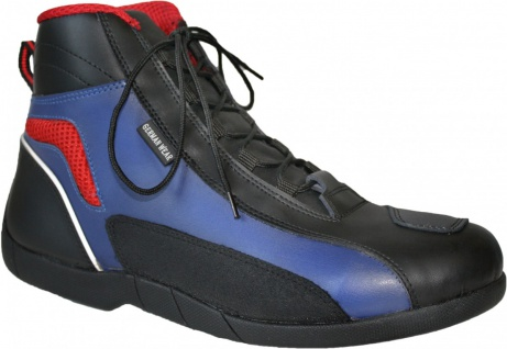 German Wear, Biker Motorradstiefel Motorrad Touring Stiefel stiefletten schwarz, blau/rot 17cm - Vorschau 2