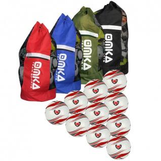 OMKA 10x Bälle Beamer inkl. Fußballsack Reisetasche mit Schultergurt