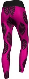 GermanWear, Leggings Tights dehnbar Sport Gymnastik Training Tanzen Freizeit Yoga, Leaf pink/schwarz - Vorschau 2