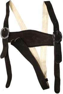 Klassische Stegträger für Trachten Lederhosen Hosenträger H-Träger dunkelbraun