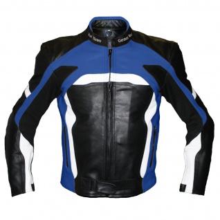 Motorradjacke Lederjacke Biker lederjacke Rindsleder Schwarz/Blau