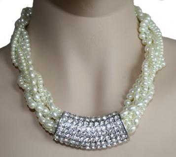 Trachtenkette Perlen Tuchhalter Strasssteinchen Metall Straß Tracht