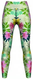 Tropical Floral Leggings sehr dehnbar für Sport, Yoga, Gymnastik, Training, Tanzen & Freizeit