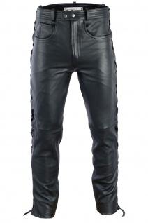 Herren Lederhose lederjeans bikerjeans jeans hose aus echtleder seitlich geschnürt