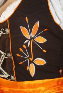 3-teiler Midi-Dirndl-Set Dirndel Dirndlbluse Dirndlschürze Orange - Vorschau 2