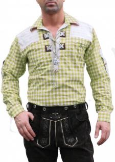German Wear, Trachtenhemd für Trachten Lederhosen mit Verzierung Giftgrün/kariert