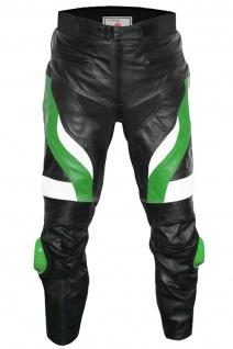 German Wear, Motorradhose Motorrad Biker Racing Lederhose Schwarz/Grün
