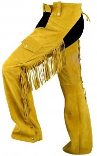 German Wear, Chaps Fransenhose Reiter Cowboy Indianer Western Lederchaps Lederhose Ocker