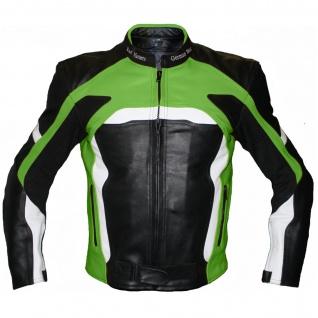 Lederjacke Motorradjacke Kombijacke in der Farbe Schwarz/Grün