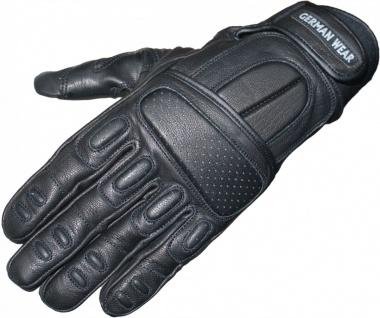 German Wear, Motorradhandschuhe Motorrad Biker Handschuhe Lederhandschuhe Schwarz