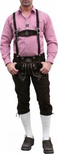 German Wear, Trachten Lederhose Kniebundhose trachtenhose mit Hosenträger Braun - Vorschau 3