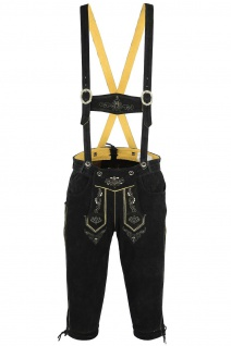 German Wear, Trachten Lederhose Kniebundhose trachtenhose mit Hosenträger schwarz - Vorschau 2