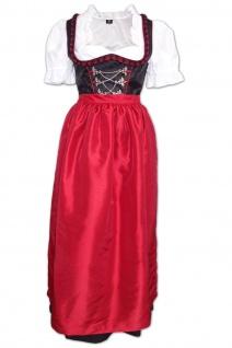 2-teiliges langes Dirndl Landhaus Kleid Dirndel ohne Bluse schwarz/mittelrot
