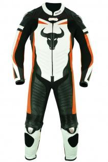 Fluoreszierender Einteiler Motorradkombi Motorrad Lederkombi aus Rindsleder echtleder Kombi Orange