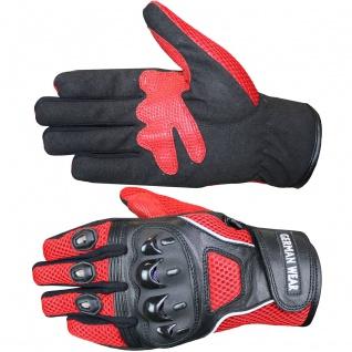 RadMasters, Motocross Motorradhandschuhe Biker Handschuhe Textilhandschuhe Rot - Vorschau 4