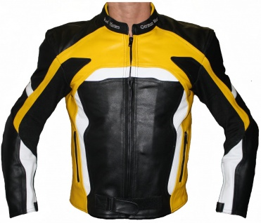 Motorradjacke Lederjacke Biker lederjacke Schwarz/Gelb
