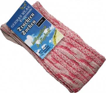 Kurze Trachtensocken Trachtenstrümpfe Zopfmuster Socken Neon-Pink meliert - Vorschau 2