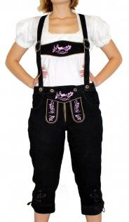 Damenlederhose Damen Trachten Lederhose aus Ziegenvelour SCHWARZ Rosa