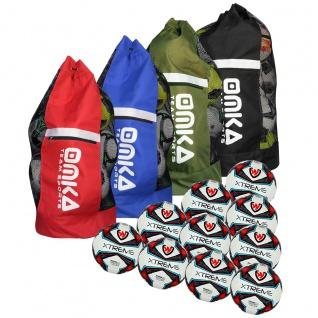 OMKA 10x Bälle Turnierball Xtreme inkl. Fußballsack Reisetasche mit Schultergurt