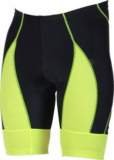 Radhose Fahrradhose Radlerhose Gepolsterte Coolmax Radler-Shorts Schwarz/Neongelb