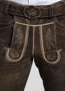 Trachten Herren Lederhose Veit 134-H kurzhose mit Gürtel Ziegenvelour Stickerei - Vorschau 4
