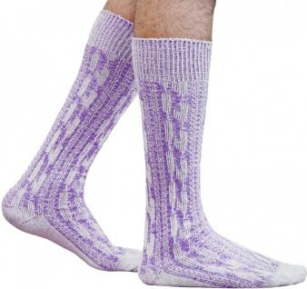 Kurze Trachtensocken Trachtenstrümpfe Zopf muster Socken Natur/Lila meliert
