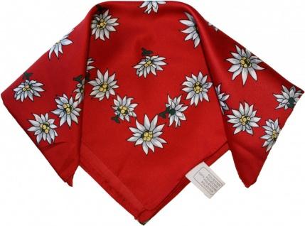 Halstuch Trachtentuch Polyester Edelweiss-muster nikituch 50x50cm 11x Farbtöne - Vorschau 1
