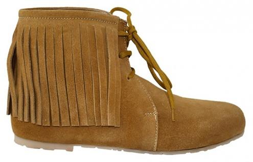 Western Trachtenschuhe Indianer Schuhe Cowboy echtleder Wildleder Ocker