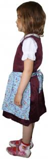 3-tlg Kinder Dirndl Mädchendirndl Dirndlbluse Dirndlschürze Kleid Bordeaux/Blau - Vorschau 3