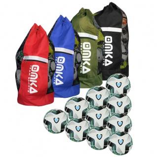 OMKA 10x Bälle Striker Turnierball inkl. Fußballsack Reisetasche mit Schultergurt