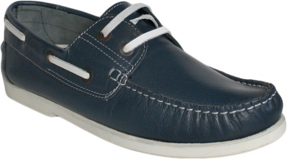Bootsschuhe Halbschuhe aus Rindsleder Segelschuhe Schuhe blau/weiß