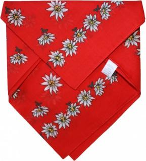 German Wear, Halstuch Trachtentuch BAUMWOLLE mit Edelweissmuster nikituch 50x50cm rot
