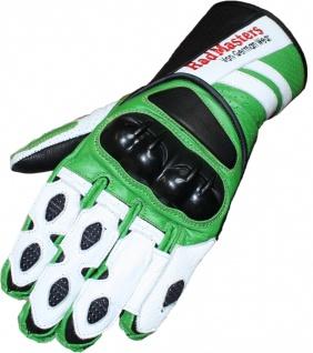 Motorradhandschuhe Motorrad Biker Lederhandschuhe grün/weiß