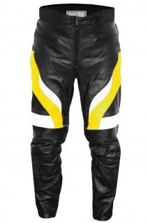 Herren Motorradhose Motorrad Biker Racing Lederhose Gelb/Schwarz