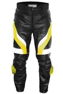 German Wear, Herren Motorradhose Motorrad Biker Racing Lederhose Gelb/Schwarz