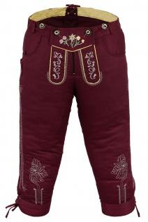 German Wear, Damen Trachten Kniebundhose Jeans Hose kostüme mit Hosenträgern Weinrot