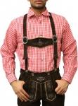 Trachtenhemd für Trachtenlederhosen Oktoberfest Trachtenmode rot/kariert 100% Baumwolle
