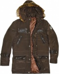 German Wear, Herren Winterjacke jacke mit aufgenähten Lederstreifen webpelz Braun