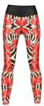 Flowers Leggings sehr dehnbar für Sport, Gymnastik, Training & Fashion Schwarz/Weiß/Rot