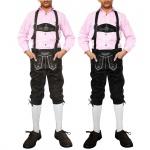GermanWear Jungen Kniebundhosen Leder Trachtenhose mit Hosenträgern