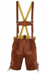 Kurze Trachten Lederhose Hose mit Hosenträger Kastanienbraun